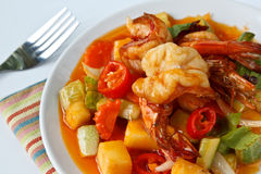 Thai Food,Sweet and Sour Shrimp. Thai Food, Stir fry shrimp in sweet and sour sauce (Pad Priaw Wan Shrimp Royalty Free Stock Image