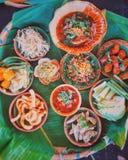 Thai food. Thai food on banana leaf royalty free stock image