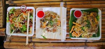 Thai food three menu on table. Thai food three menu on bamboo table Royalty Free Stock Photos