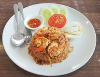 Thai food Tom Yum Kung fired rice. These dish is a thai food . The signature of thai is Tom Yum Kung stock images
