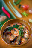 Thai Food, Tom Yum Kung with Ingredient. Chilli ,tomato, onion, lemon grass, lime Royalty Free Stock Images
