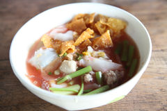 Thai food Tom yum noodle in Thai style Stock Photos
