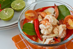 Thai food, Tomyum Kung. Thai traditional and popular dish ,Sour and spicy shrimp soup (Tomyum Kung Stock Photos