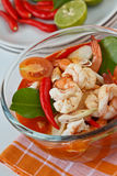 Thai food, Tomyum Kung. Thai traditional and popular dish ,Sour and spicy shrimp soup (Tomyum Kung Royalty Free Stock Photography