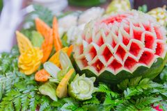 Thai food traditional art craft engrave on fruit royalty free stock photos