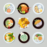 Thai food vector icons set. Thai food icons set. Shrimp and traditional restaurant, cooking and menu, vector illustration Royalty Free Stock Photography