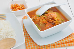 Thai food vegetable sour and rice. Stock Photos
