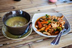 Thai food with vegetables stock image