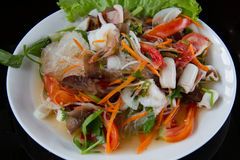 Thai food vermicelli salad and seafood,spicy Royalty Free Stock Photography