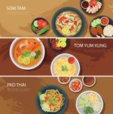 Thai food web banner flat design.som tam, tom yum kung,pad thai Stock Image