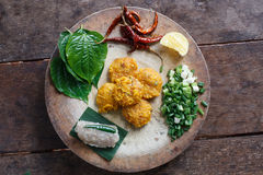 Thai food,Yam Naem Khao Thot Recipe,Spicy Salad of Curried Rice Royalty Free Stock Photos