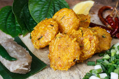 Thai food,Yam Naem Khao Thot Recipe,Spicy Salad of Curried Rice Royalty Free Stock Image