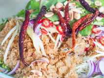 Thai food, yam pla duk foo Royalty Free Stock Image