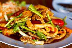 Thai food,Yum sam krob, spicy mix salad thai style Royalty Free Stock Photo