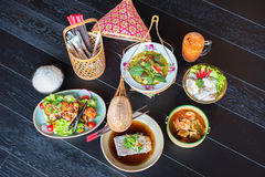Thai foods. A big assortment of Thai foods and appetisers Stock Images