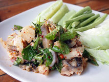 Thai Foods Lab. Thai style spicy food, Lab Pla(Fish Stock Photography