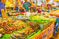 Thai foods on skewers, Talad Saphan Phut market, Bangkok, Thailand