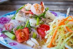 Thai foods spicy salad. This photo are Thai foods spicy salad call Yum Woondsen Royalty Free Stock Image