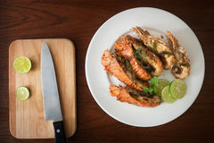 Thai Foods : stir-fried rock lobster with chilli, garlic and Tha Stock Photography