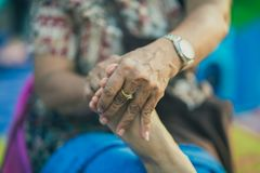 Thai foot massage on street for resting place on annual festival.  stock images