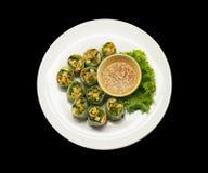 Thai fresh spring rolls. On black background Stock Images