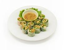 Thai fresh spring rolls. On white background Stock Photo