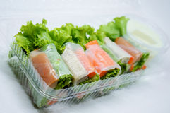 Thai Fresh Vegetable Rice Sheet Rolls Stock Image
