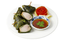 Thai fried chicken in pandanus leaves Royalty Free Stock Photo