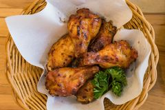 Thai fried chickens Hot and Spicy in basket Stock Photography
