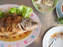Thai fried fish set. stock images