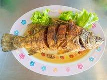 Thai fried fish set. stock photo