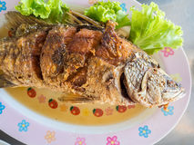 Thai fried fish set. stock photography