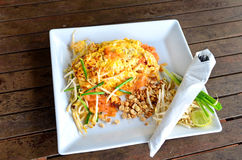 Thai Fried Noodle With Prawn Royalty Free Stock Photo