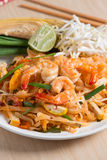 Thai Fried Noodles `Pad Thai` with shrimp and vegetables. Royalty Free Stock Photo