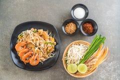Thai Fried Noodles Pad Thai with shrimps Stock Image