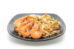 Thai Fried Noodles Pad Thai with shrimps or prawns Royalty Free Stock Image
