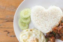 Thai fried pork basil sauce Stock Photos