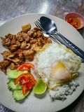 Thai fried pork with rice and egg royalty free stock photo