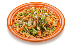 Thai Fried Rice with Chicken and vegetables Royalty Free Stock Images