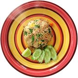 Thai fried rice. On circle plate Royalty Free Stock Image