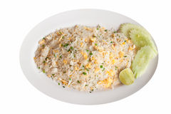 Thai fried rice with crab meat Royalty Free Stock Photo