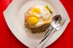 Thai fried rice with egg on top Royalty Free Stock Photo