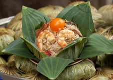 Thai fried rice in lotus leaf package Royalty Free Stock Photo