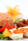 Thai Fried Rice On Plate Traditional Asian Cuisine Stock Images
