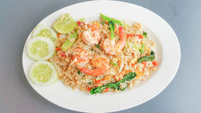 Thai fried rice with prawns Royalty Free Stock Images