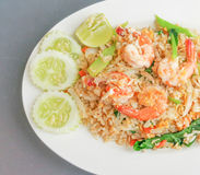 Thai fried rice with prawns Stock Photo