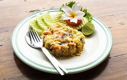 Thai fried rice with prawns Stock Photos