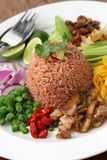 Thai fried rice with shrimp paste Royalty Free Stock Images