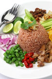Thai fried rice with shrimp paste Stock Photos