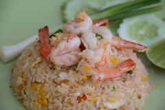 Thai fried rice with Shrimps. In Thai style restaurant Stock Photos